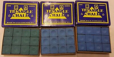 Pool Chalk Triangle 3 Colours Pack of 12 Billiard Snooker Cue Table Green Blue