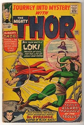 MARVEL Comics THOR Journey into mystery  Silver age #108 1964 VG- LOKI
