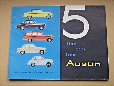 Vintage Brochure Of The 5 Austin Car Range, From 1956 Earls Court Motor Show