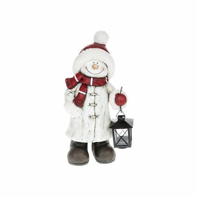 Ex-Large Size Cheery Snowman Figure Ornament Christmas Xmas Statue With Lantern