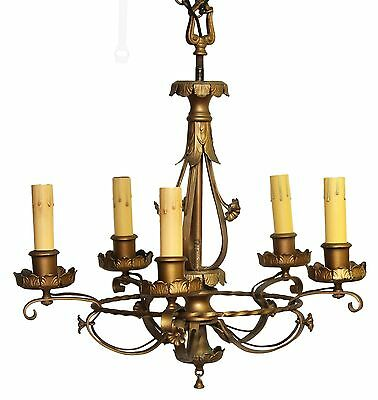 Five Light French Chandelier With Gold Finish
