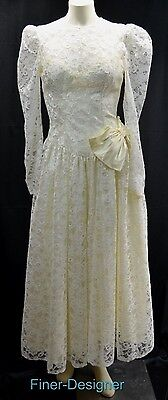 DANCE ALLURE alfred angelo Wedding Ball gown lace bridal Victorian dress S M VTG