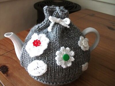 Hand Knitted Christmas Sparkling Flowers Tea Cosy For 2 Pint Teapot (4-6 Cups)