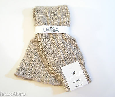 Urania Italy Angora Blend Leg Warmers Diamond Rib Oatmeal - NEW