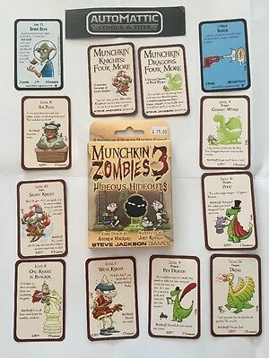 Munchkin Zombies 3 Hideous Hideouts + Love Shark Baby Expansions Plus 5 Promos
