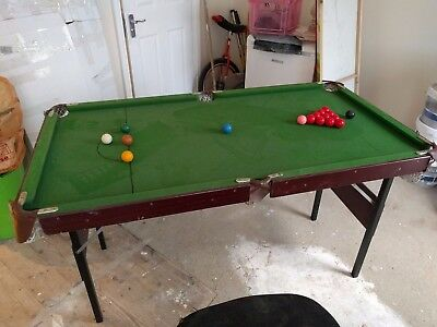 4ft Foot Snooker and Pool table with cues triangles and balls