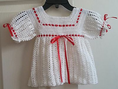 Vintage 1990's Hand Crocheted White Top With Red Ribbon Trim Size 6-12 Months