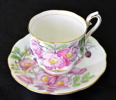 ROYAL ALBERT China England Flowers of Month #6 DOG ROSE Set Footed Cup & Saucer