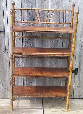 Antique Victorian Pyrography Pattern 4 Tier Bamboo Book Knick Knack Floor Shelf