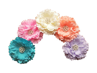 LMC Set of 5 Large 11cm Fabric Peony Flowers Without Clip for Craft Projects