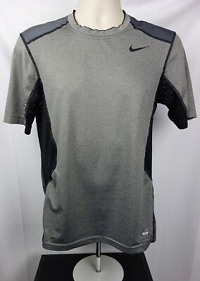 81eaf635ce4 Nike Pro Combat Mens S Athletic T-Shirt Fitted Dri Fit Black Gray Short  Sleeve