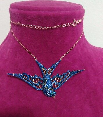 Sterling 925 Silver  Micro-Pave Blue Sapphire Bird Pendant / Necklace