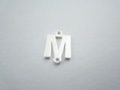 1 connettore 2 fori  lettera M in argento 925 made in italy misure 11 x 6 mm