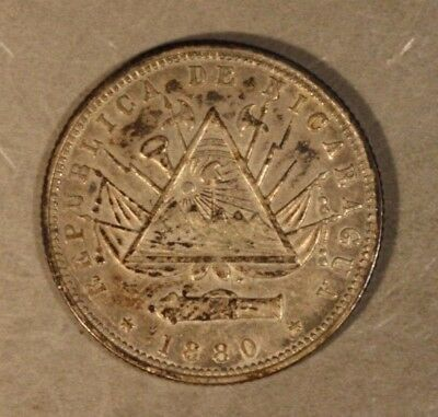 1880H Nicaragua 20 Centavos Toned Higher Grade          ** FREE U.S SHIPPING **