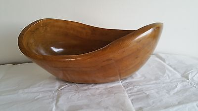 "Vintage 16"" Abstract Free Form Wooden Center Piece Bowl"