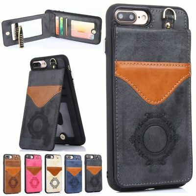 Luxury Leather Case With Mirror for iPhone 6 6S 7 Plus Stand Card Holder Cover