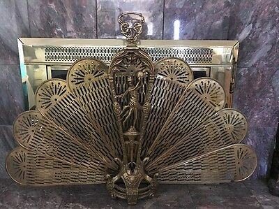 Antique Vintage Ornate Gothic Brass Fireplace Folding Fire Screen Fan Peacock