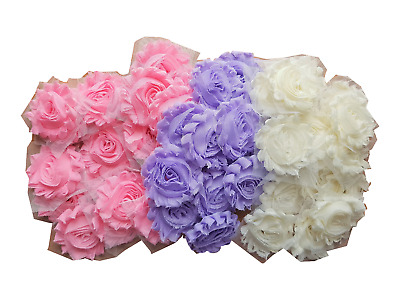 LMC 60 Pcs Shabby Chiffon Flowers 2.5 Inches Set of 3 Solid Colors - 20 pc/color