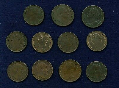 """England """"farthing"""" Coins: 1835, 1865, 1822, 1853, 1881, 1885, 1894, 1885, 1903,"""