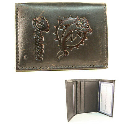 Miami Dolphins Black Leather Tri-fold Wallet