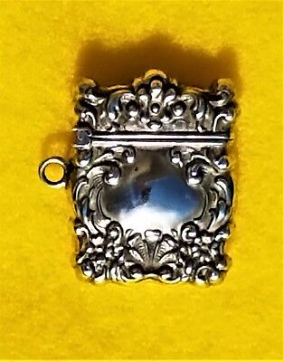 Very Nice Antique Decorative Victorian Sterling Silver Stamp - Match - Pill Box