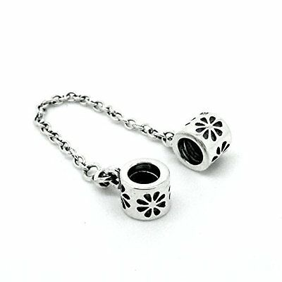 DAISY FLOWER-Floral- Safety Chain-European Charm Bead- Solid 925 Sterling silver