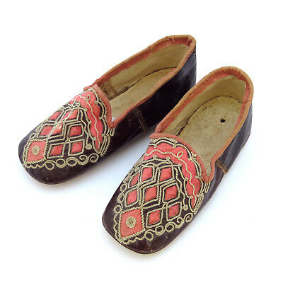 RARE 19th c. French Pair of Child's Kid Leather Chameleon Shoes ~ AAFA