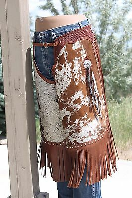 Hair on Cowhide Chinks Chaps Basket stamped, Conchos &  SS Spots
