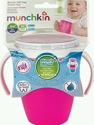 Munchkin Miracle 360 Pink No Non Spill Proof Sippy Anyway Up Trainer Cup Beakers