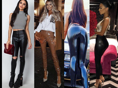 Womens High Waist Wet Look PVC Leather PU Leggings Stretch Trousers Pants Jeans
