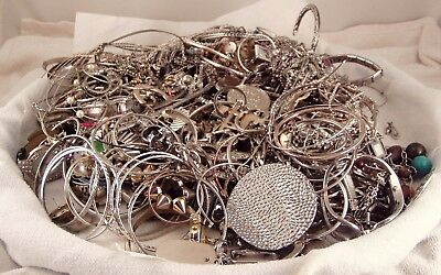 HUGE 11+lb Lot Vintage-Now Silver Tone Jewelry, Wear, Repair, Parts, Crafts LOOK