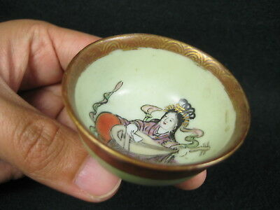 Antique Japanese Hand Painted Ceramic Kutani Signed Sakazuki Sake Cup Benzaiten