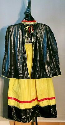 Vintage Girls Plastic Witches Halloween Costume Black Yellow Skirt Cape & Hat