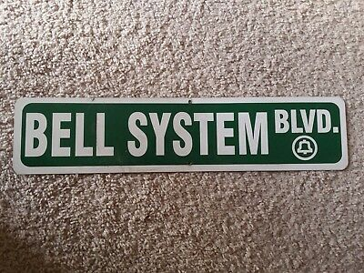Bell System Boulevard BLVD vintage metal sign rectangle green and white