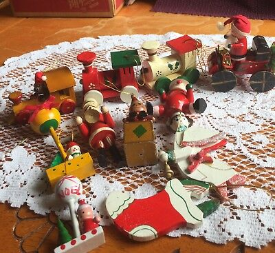 Lot of Wooden Christmas Ornaments, Includes all colourful wooden pieces.