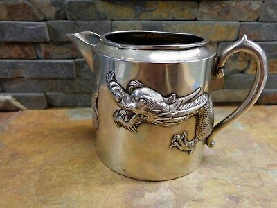 Superb Antique Signed Wang Hing Dragon Pitcher Sterling Silver Chinese Export