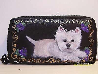 Hand painted West highlander white terrier genuine leather check book wallet