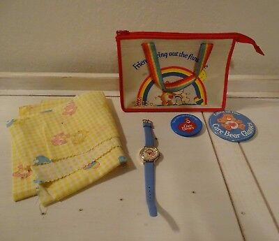 1980s Care Bears Hand Bag + Watch + Pins + Fabric