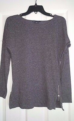 Armani Exchange Gray Long Sleeve Top Zippered Sides Size X-SMALL