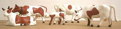 Four Brown & White Cows with One Calf Figures - VGUC