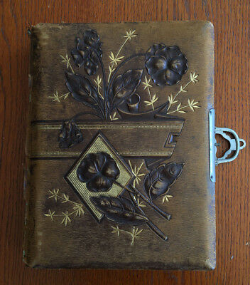 Antique Family Photo Album Ornate Leather Cover Add Your Own Photos