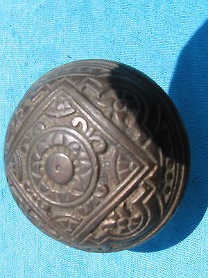 c1885 Antique Ornate CORBIN Cast BRONZE DOOR KNOB EASTLAKE Entry Size ~2 1/4""