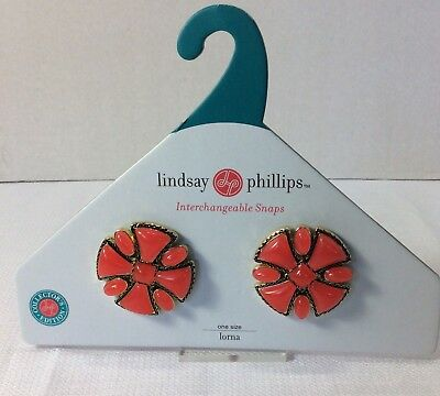 """LINDSAY PHILLIPS """"LORNA"""" Interchangeable Snaps Coral Colored Gold Base 1.5"""""""