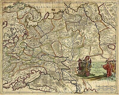 1680s Vintage Map of the Russian Empire  - 16x20
