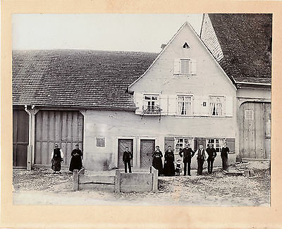 FAMILY POSE IN FRONT OF HOUSE & ORIGINAL ca 1900's PHOTO, BASEL SWITZERLAND