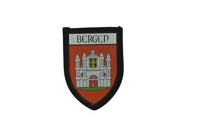 Patch printed embroidery travel souvenir shield city flag bergen norway r2