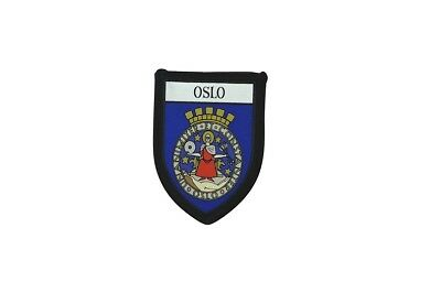 Patch printed embroidery travel souvenir shield city flag oslo norway