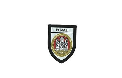 Patch printed embroidery travel souvenir shield city flag bergen norway
