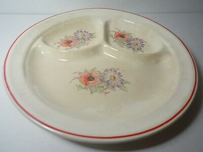 """1940s Antique Universal China Cambridge Camwood Ivory DIVIDED 9 3/4"""" GRILL PLATE"""