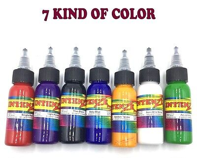 INTENZE Tattoo Ink 7 Colors Primary Ink Professional Set 1 Ounce 100% Authentic